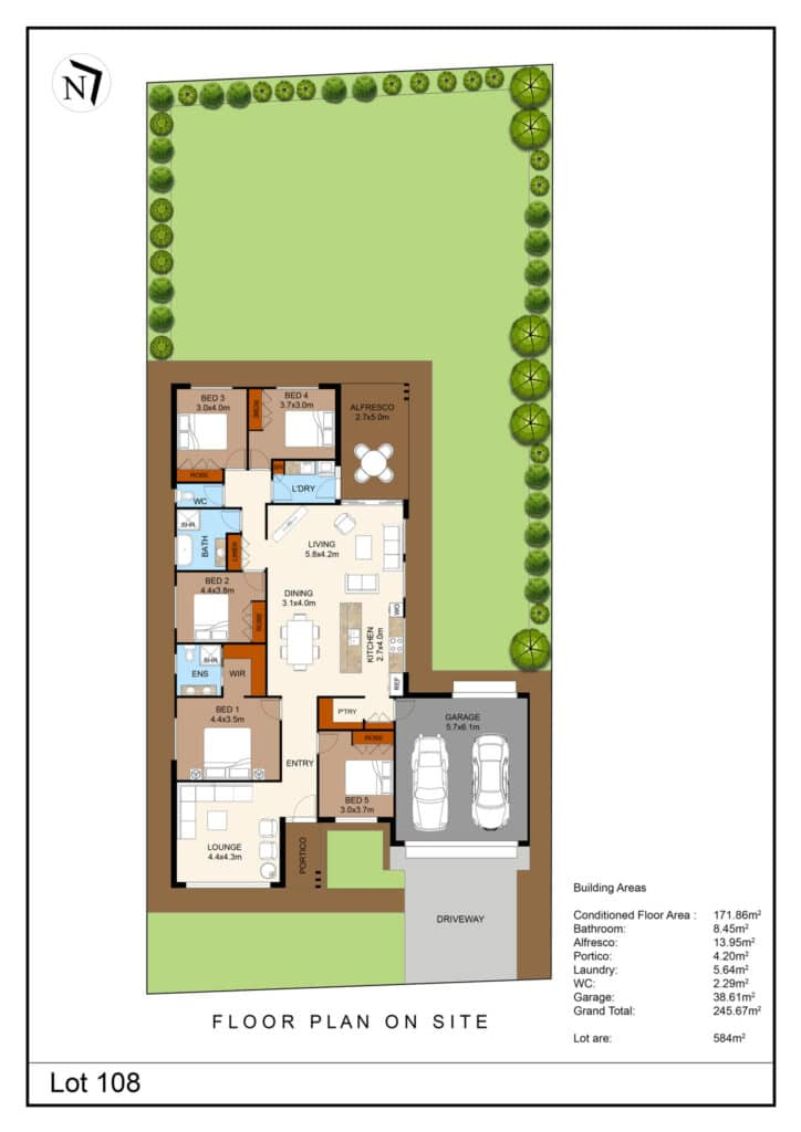 Lot 108 Clifton Gardens Floor Plan - Griffith Real Estate Agents - JZ Homes